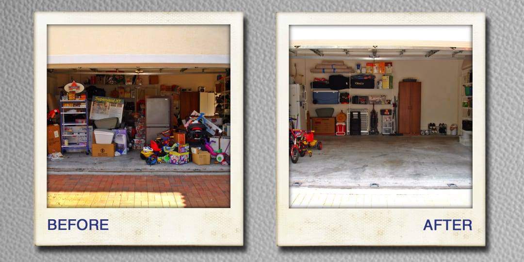 organizing garage before and after