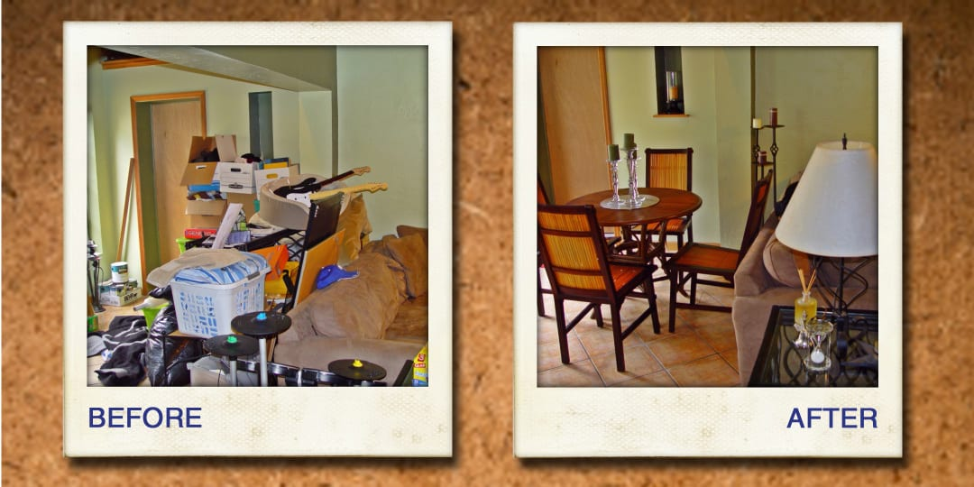 organizing dining room before and after