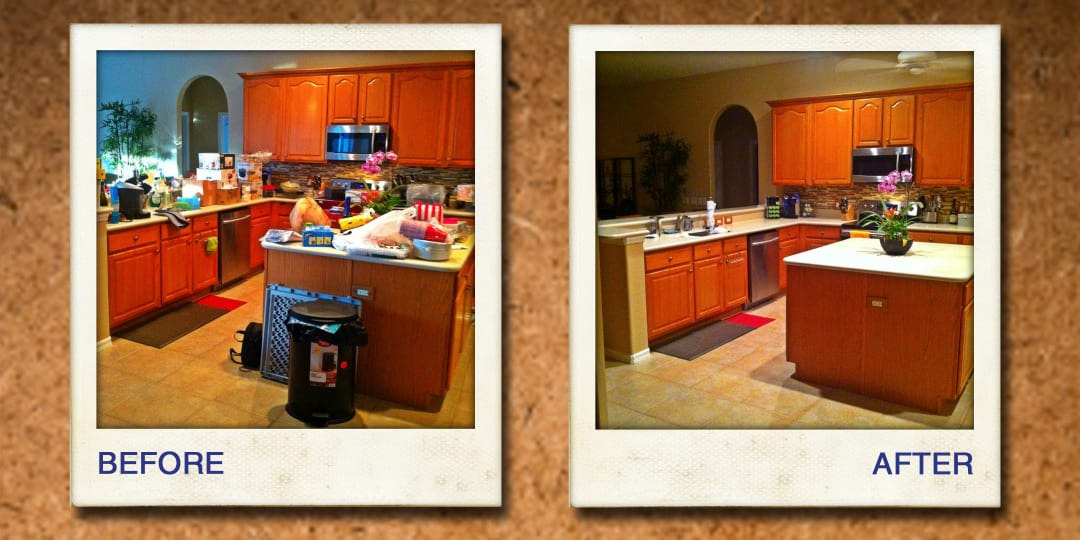 organizing kitchen and dining area before and after