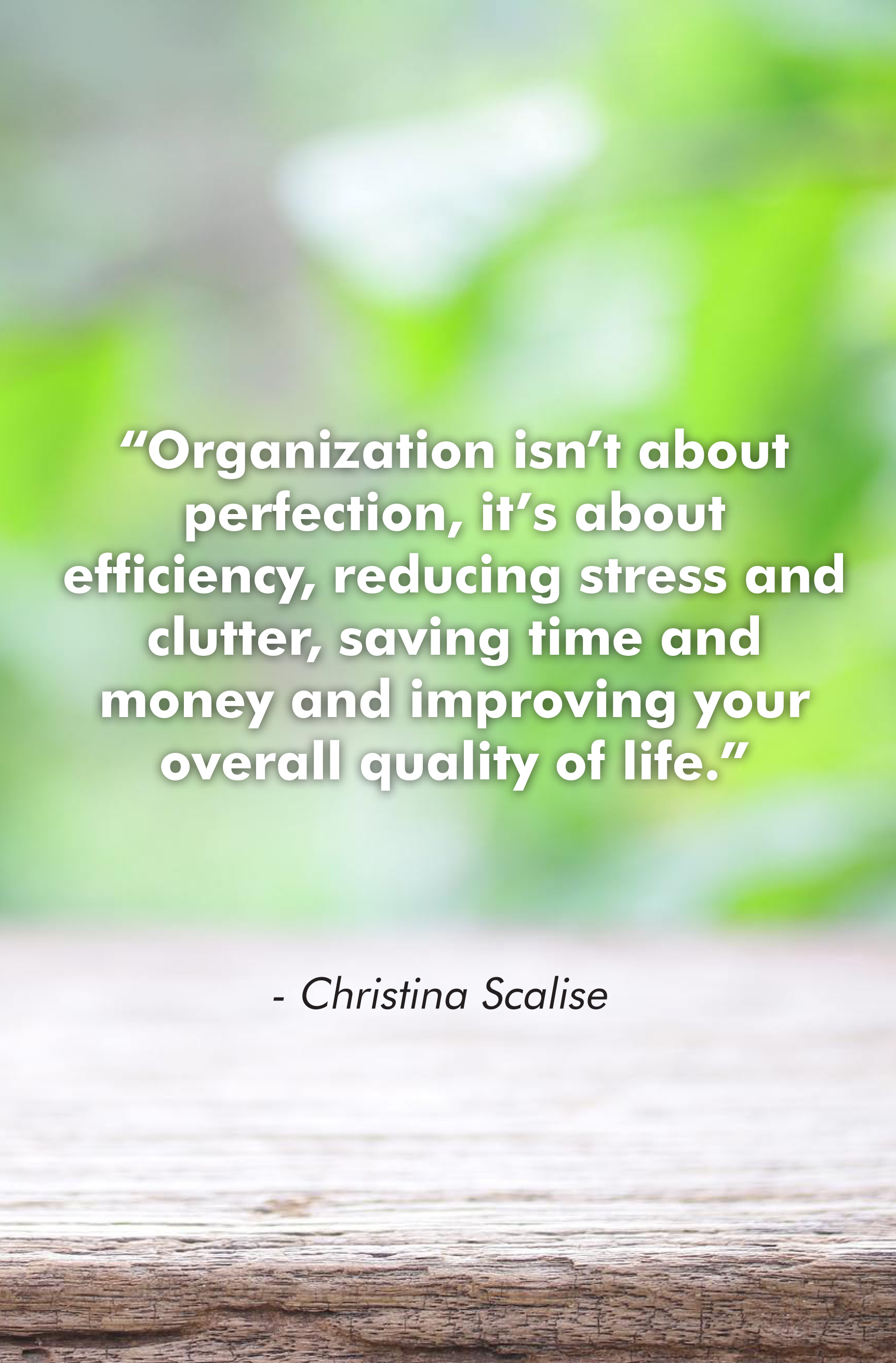"""""""Organization isn't about perfection, it's about efficiency, reducing stress and clutter, saving time and money and improving your overall quality of life."""""""